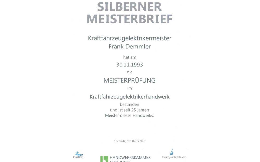 Silberner Meisterbrief für Frank Demmler