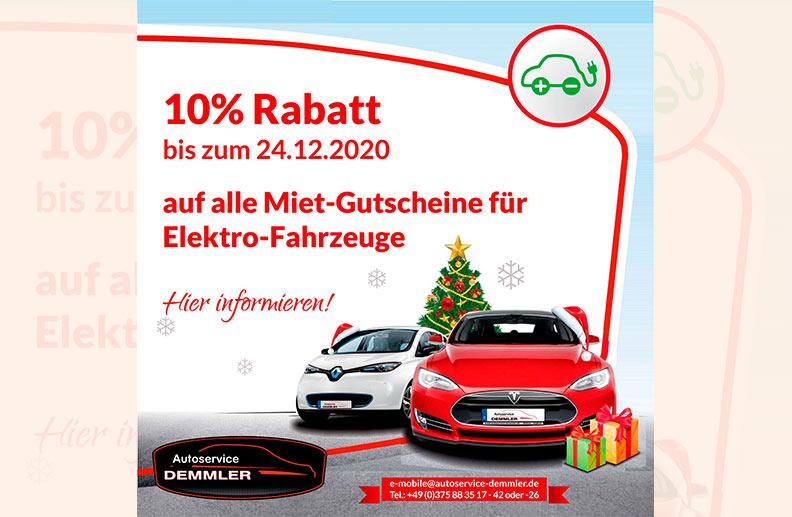 10% Rabatt auf Mietgutscheine Elektrofahrzeuge